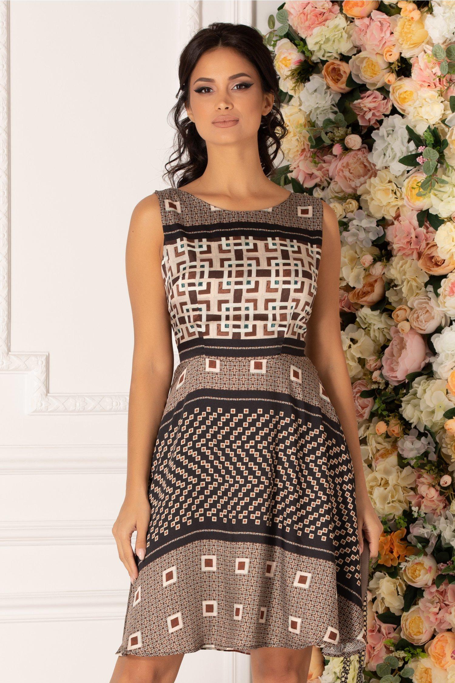 Rochie Crissa maro cu imprimeuri geometrice