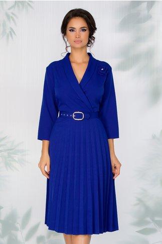 Rochie Damaris albastra cu fusta plisata si curea in talie