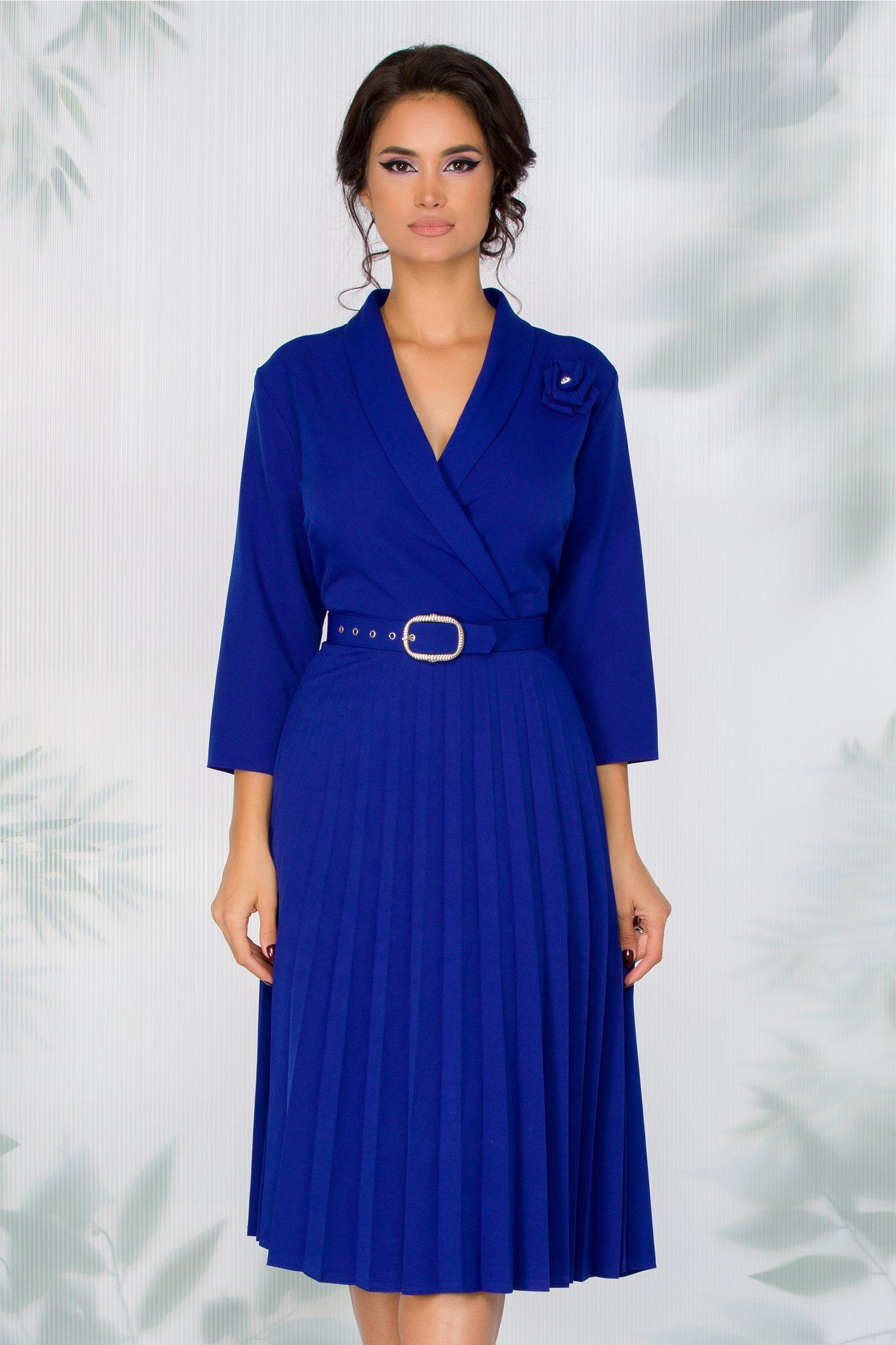 Rochie Damaris albastra cu fusta plisata
