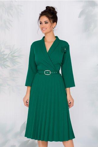 Rochie Damaris verde cu fusta plisata si curea in talie