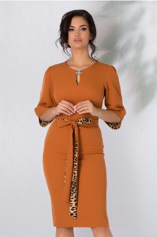 Rochie Dariana caramizie cu cordon si detalii animal print