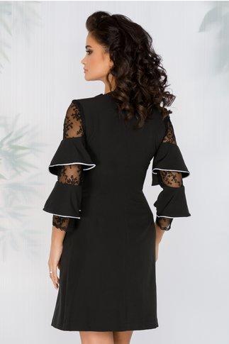 Rochie Delia neagra stil sacou cu volane la maneci