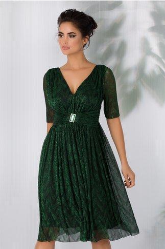 Rochie Deny eleganta de ocazie cu fir lurex verde