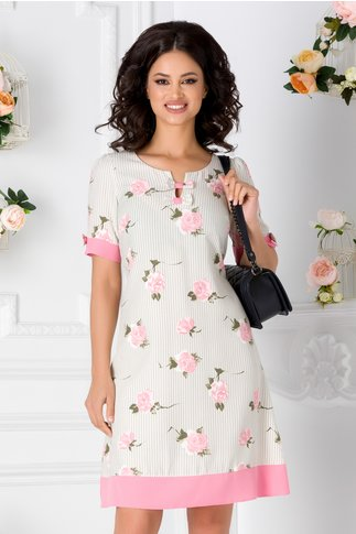 Rochie Deny ivoire cu dungi gri si trandafiri roz