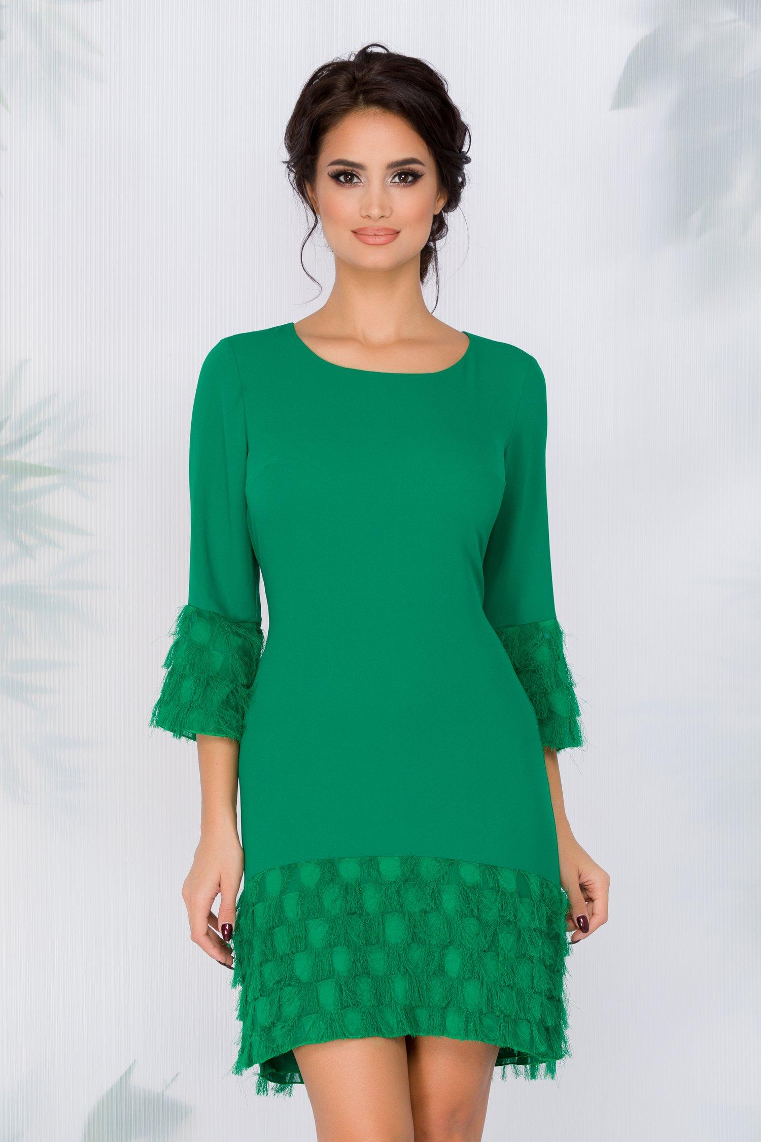 Rochie Desi verde cu franjuri