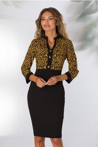 Rochie Dolly neagra cu animal print galben mustar