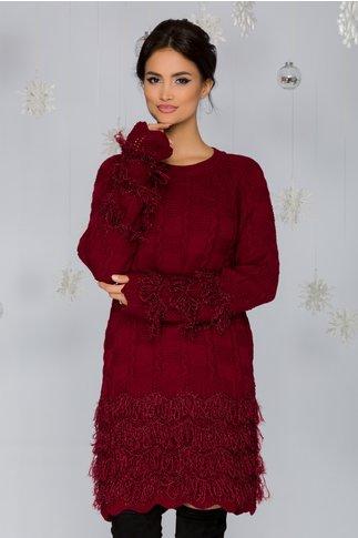 Rochie Dora bordo din tricot cu franjuri