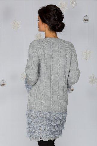 Rochie Dora gri din tricot cu franjuri