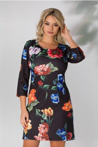 Rochie Dorina neagra cu imprimeuri florale colorate
