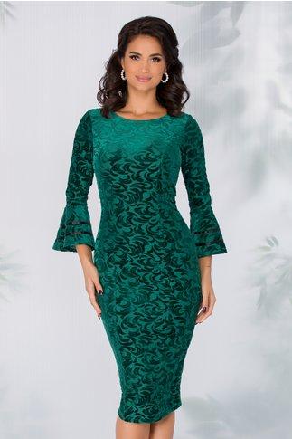 Rochie Ecaterina verde cu insertii din catifea si satin