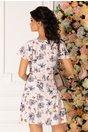 Rochie Elissa roz pal cu imprimeu floral in nuante pastelate