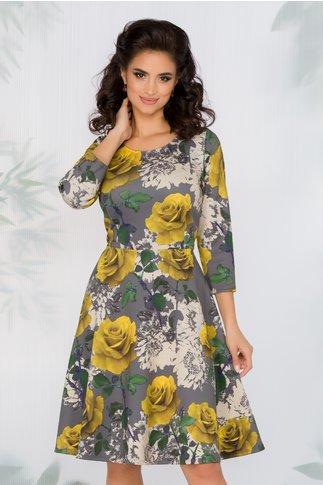 Rochie Elsie gri cu imprimeu floral galben