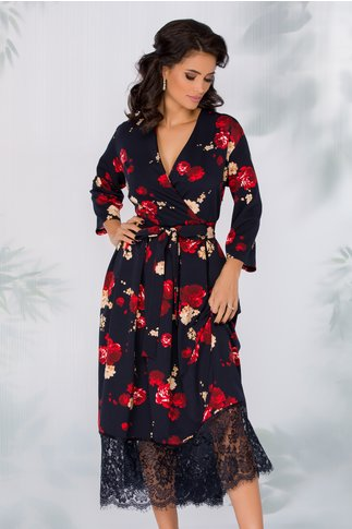 Rochie Ely bleumarin cu imprimeuri florale si baza din dantela