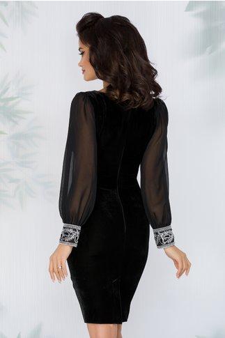 Rochie Emilia neagra din catifea cu mansete paietate