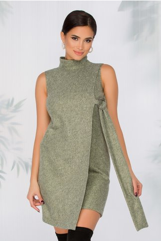 Rochie Erika verde cu fir auriu tip jerse cu guler