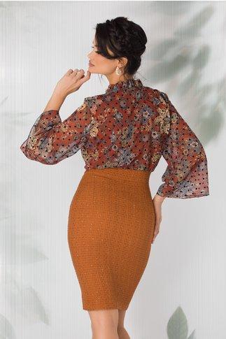 Rochie Eva maro cu imprimeu floral stil mandala si guler incretit