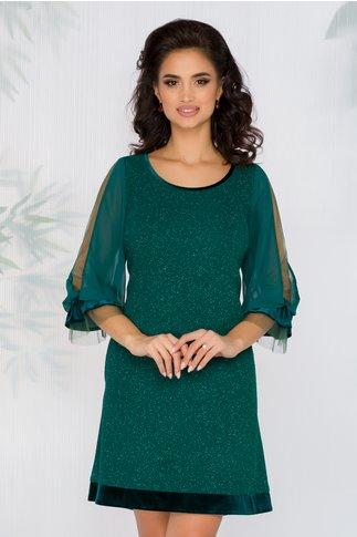 Rochie FanyLux verde cu insertii din fir stralucitor si maneci din voal