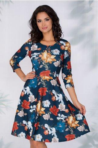 Rochie Flavia bleumarin cu imprimeu floral