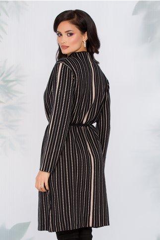 Rochie Flavia tricotata neagra cu imprimeu in dungi bej