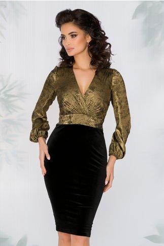 Rochie Ginette cu bustul auriu si fusta din catifea