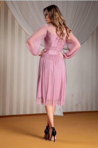 Rochie Ginette de ocazie din matase roz prafuit
