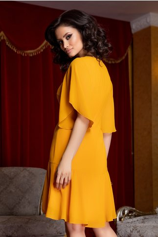 Rochie Ginette galben mustar cu decolteu accesorizat cu margelute