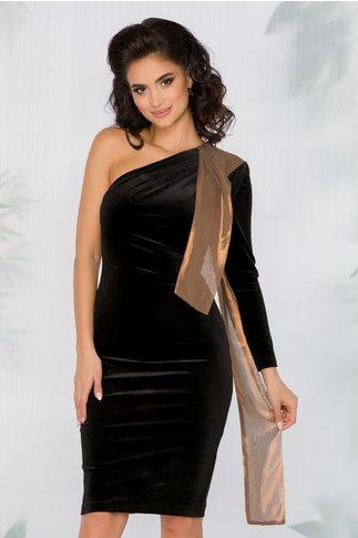 Rochie Ginette neagra din catifea cu accesoriu tip esarfa