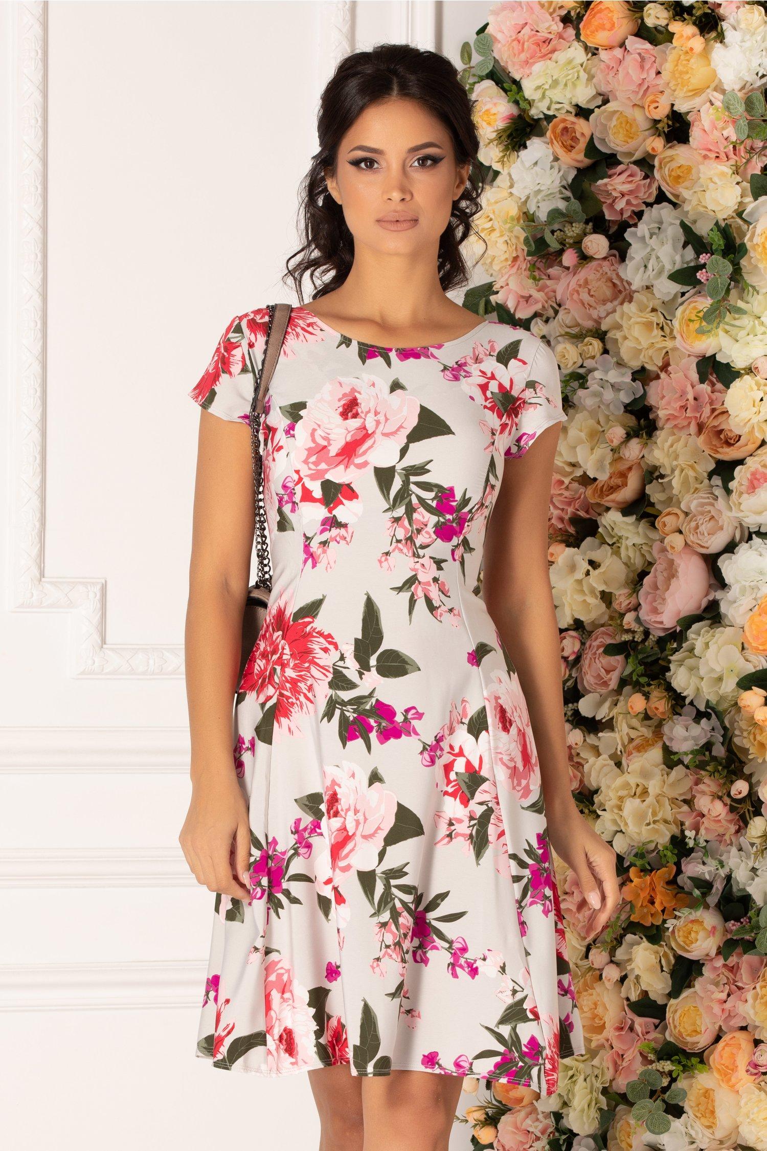 Rochie Gratiela gri cu imprimeu floral