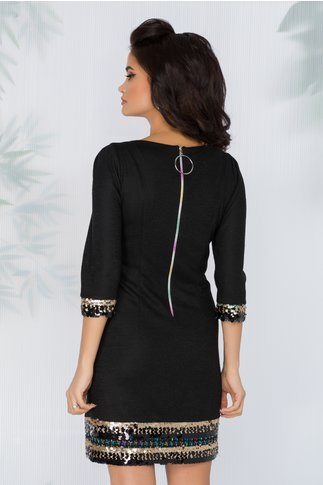 Rochie Hanna neagra cu aplicatii din paiete la baza rochiei si a manecilor