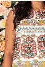 Rochie Ileana alba cu imprimeu divers