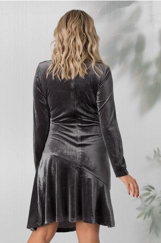 Rochie Ilinka gri de catifea