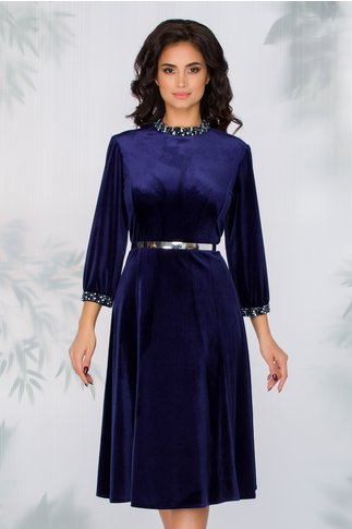 Rochie Imari bleumarin din catifea accesorizata cu strasuri si curea in talie