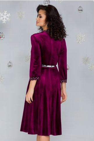 Rochie Imari magenta din catifea accesorizata cu strasuri si curea in talie