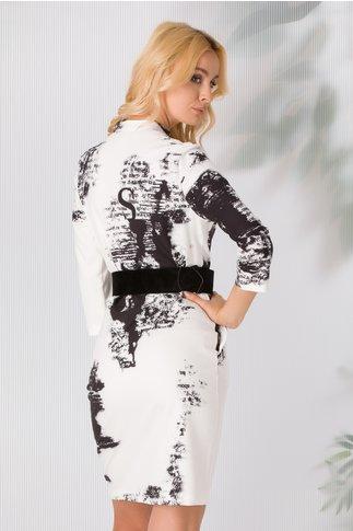 Rochie Ioana alba cu imprimeuri negre