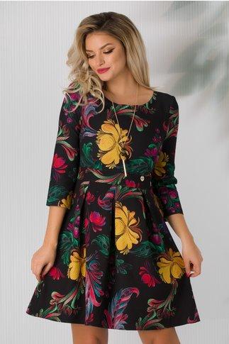 Rochie Juliette neagra cu imprimeu floral colorat