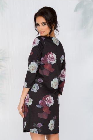Rochie Kasia neagra cu imprimeu floral in nuante de mov