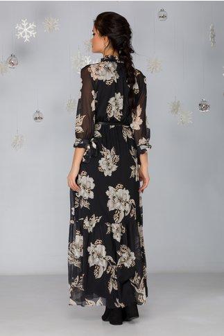 Rochie Kasia neagra lunga cu imprimeu floral maxi in nuante de bej