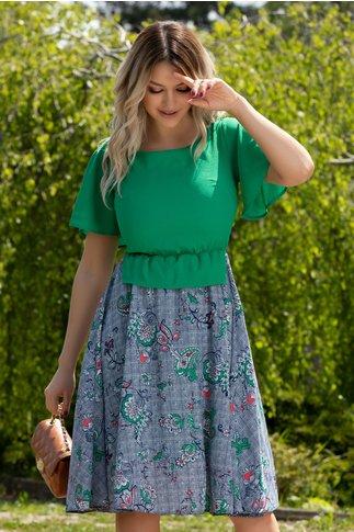 Rochie Kaylee verde cu imprimeu floral si carouri