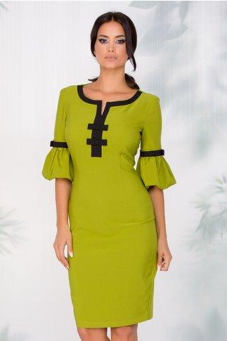 Rochie LaDonna conica verde lime cu fundite la bust si maneci bufante