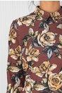 Rochie LaDonna evazata maro cu imprimeuri florale