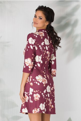 Rochie LaDonna evazata mov cu imprimeuri florale
