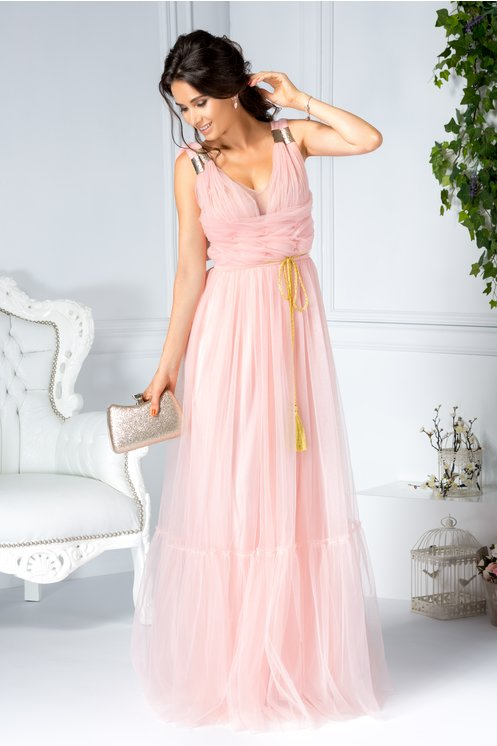 Rochie LaDonna Evelin roz lunga de seara din tull