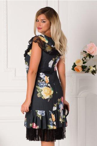 Rochie LaDonna gri petrol cu imprimeu floral multicolor si dantela neagra
