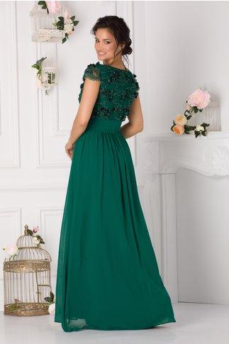 Rochie LaDonna Luna verde lunga cu broderie florala 3D si margelute in zona bustului