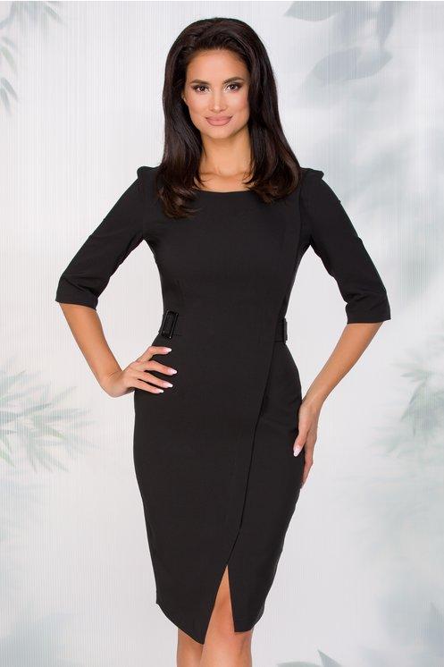 Rochie LaDonna neagra office cu aspect petrecut