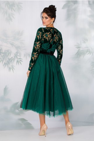 Rochie LaDonna verde cu fusta din tull si motive florale la bust