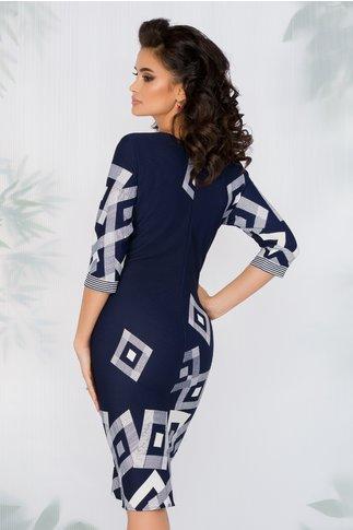 Rochie Lari bleumarin cu imprimeuri geometrice albe