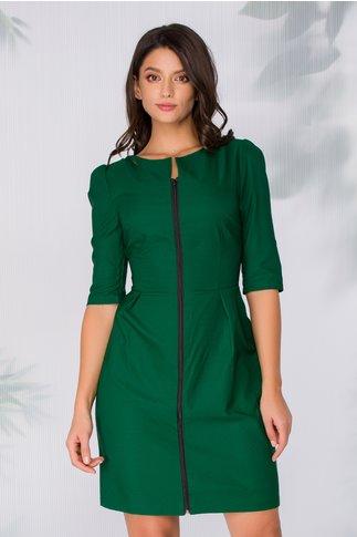 Rochie Larina verde cu fermoar