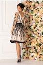Rochie Leonard Collection bej cu broderie florala neagra si cordon in talie