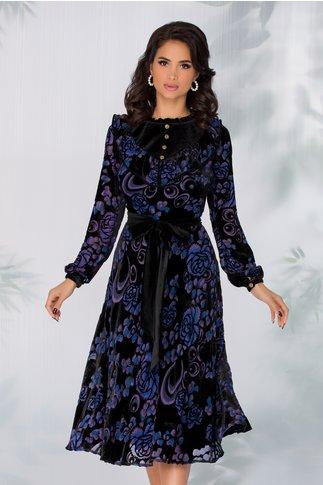 Rochie Leonard Collection din catifea neagra si imprimeu floral in nuante de albastru si mov